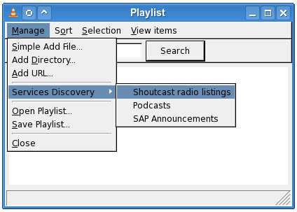VLC Playlist / Get shoutcast channels