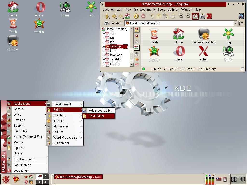 KDE 3 1, Noia Icon Theme, My home desktop