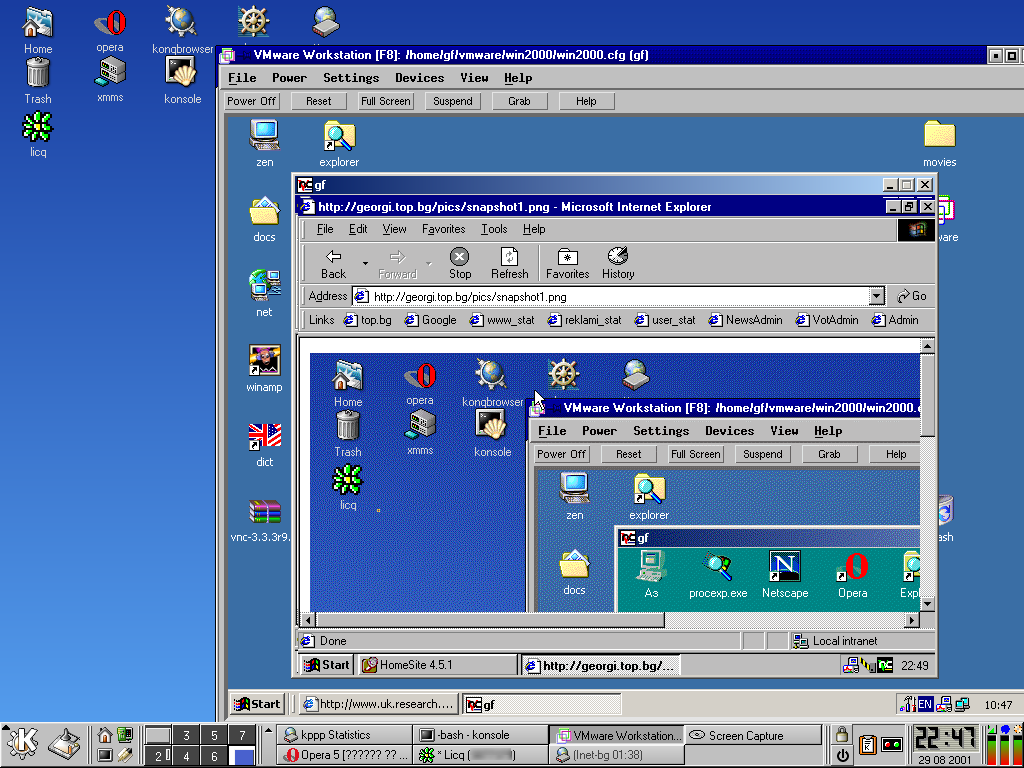 Win2k under vmware connected to win2k vnc server using browser